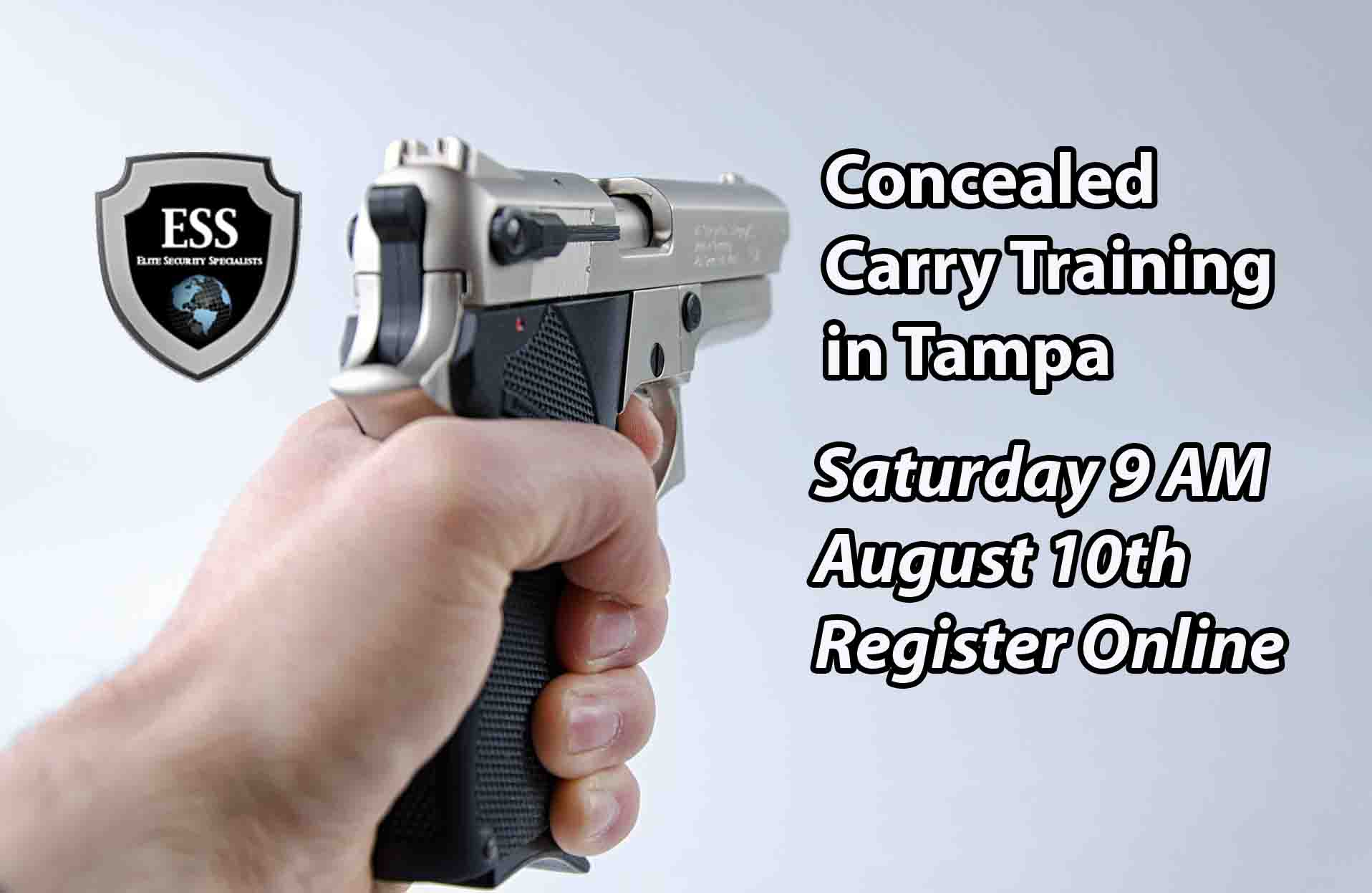 Tampa Concealed Carry Training Saturday August 10th at 9 AM