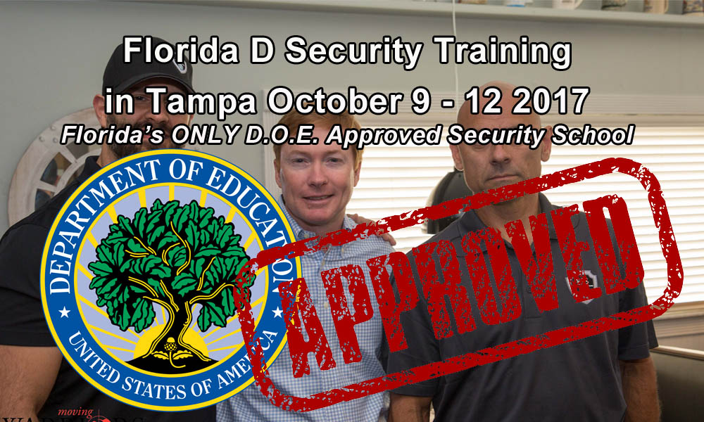 Florida D Security License Training in Tampa October 9-12