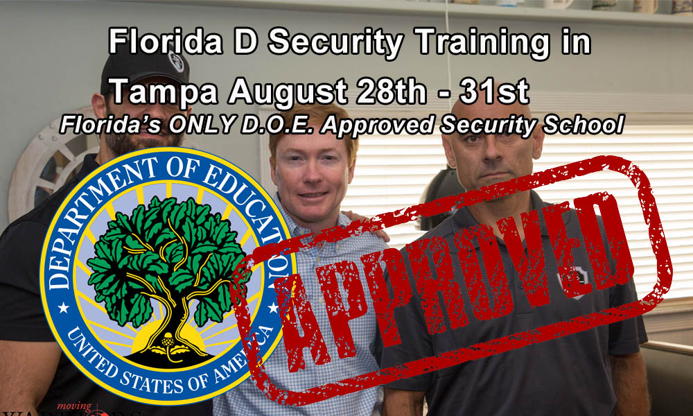 Florida Security D License Training in Tampa August 28-31