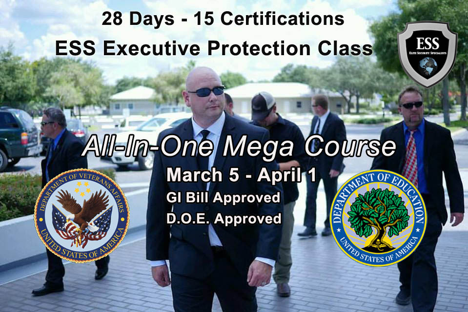 Executive Protection Training in Tampa March - 28 Day Mega EP