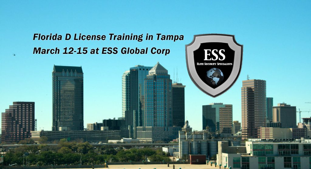 Florida D Security License Class March 12-15 in Tampa Bay