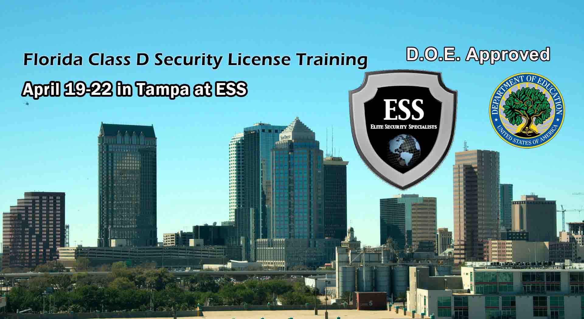 Florida D Security License Training in Tampa April 2019