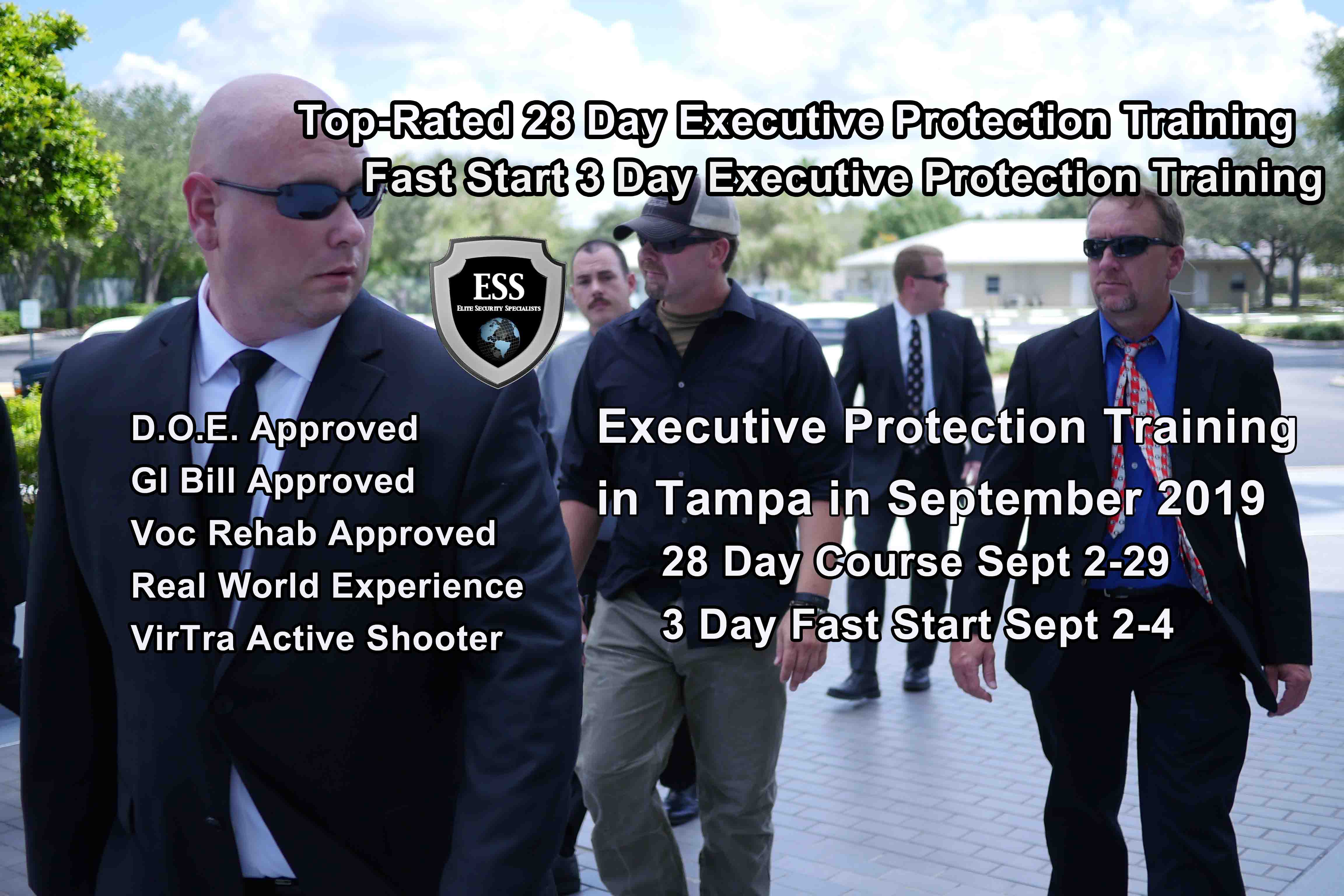 GI Bill Approved Executive Protection Training in SEPT 2019