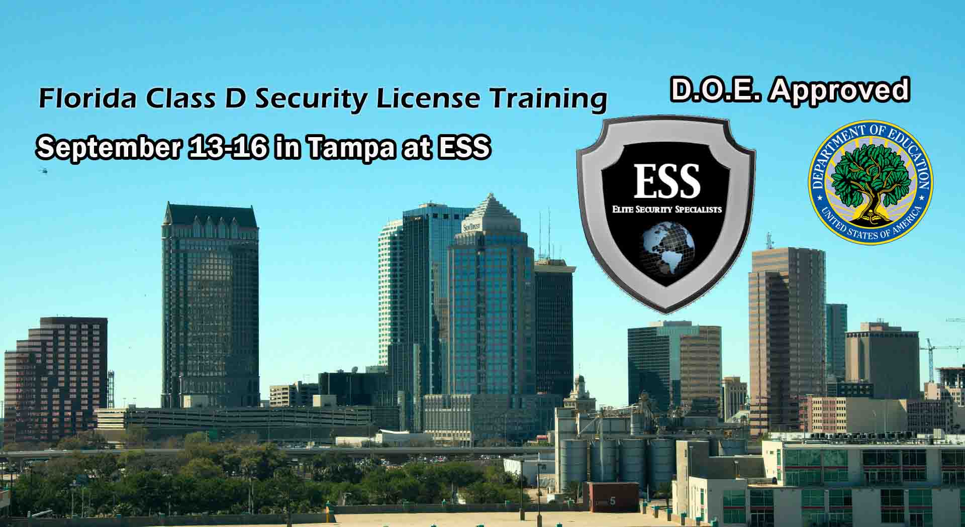 Florida D Security License Training in Tampa September 13-16